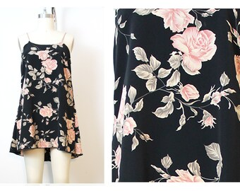 Pink Black Romantic Rose Cami Dress Reconstructed 90s Vintage Small OOAK Shred Threads Original