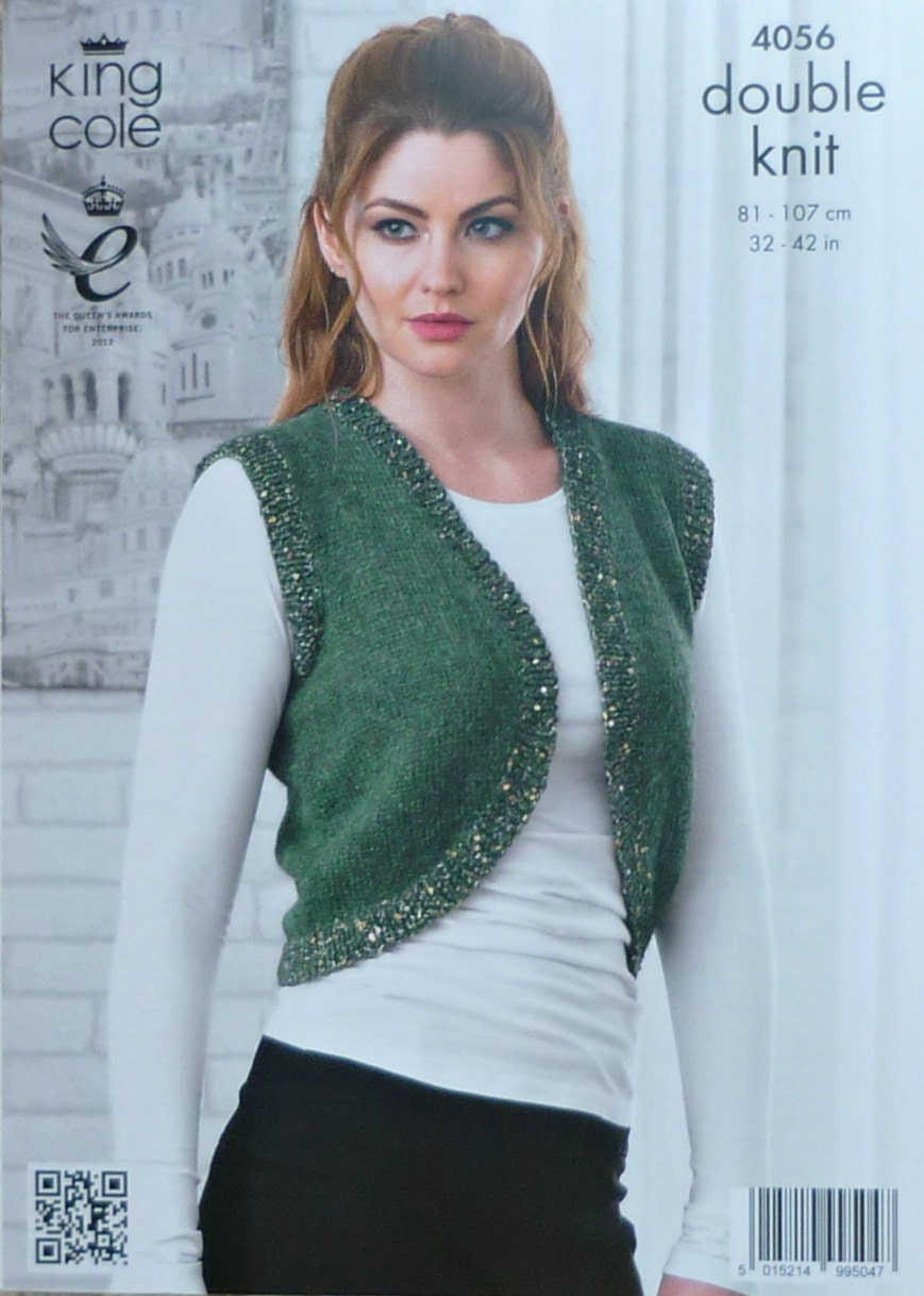 Womens Knitting Pattern K4056 Ladies Sleeveless Bolero Cardigan with ...