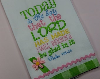 Embroidered Towel, Kitchen Towel, Bible Verse Towel, Christian Gift, Kitchen Decor, Bridal Shower Gift, Hostess Gift, Gifts for Her