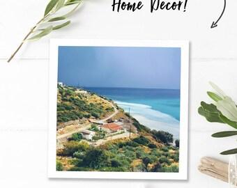 Samos Greece photography, travel printable photography, landscape of Greece printable art, square digital download photography wall art