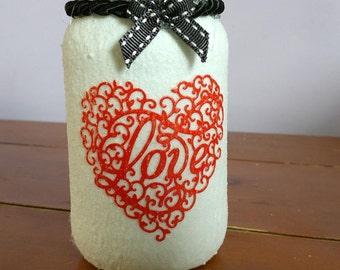 Handmade, frosted tea light jar, love heart, valentine, fairy