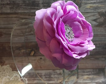 Bright purple flower hair clip, purple hair accessory, girls hair flower, purple hair clip, ranunculus flower hair clip hair accessory