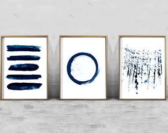 Abstract art Print Set 3 Watercolor Paintings Indigo Blue Wall art Stripes Circle Paint Splatter Minimalist art Extra Large Abstract Art