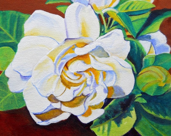 Gardenia from Hilo 8x8  Art Print from Kauai Hawaii by Marionette white flower yellow green