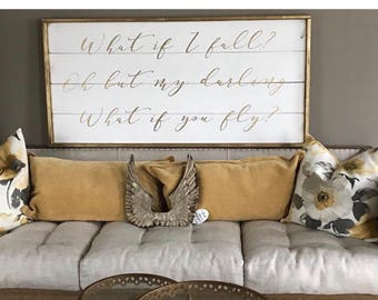 What if i fall? Oh but my darling what if you fly?, shabby chic wood sign, framed shiplap