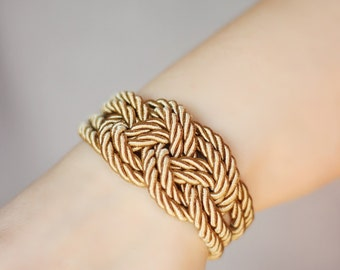 Sailor Knot Bracelet, Brown Bracelet, Silk Rope Bracelet, Sailor Knot, Rope Knot Bracelet, Nautical Bracelet, Nautical Knot,Braided Barcelet