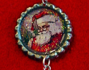 Altered Art Bottle Cap Necklace - Smiling Santa- Art by ruby