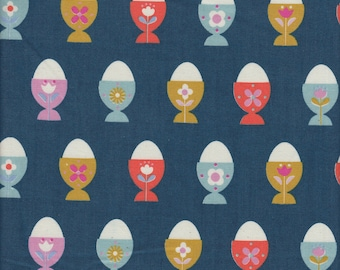 Cotton + Steel Kimberly Kight Welsummer Egg Cups in Navy - Half Yard