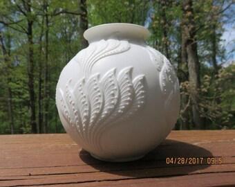 Mid Century German Kaiser Vase Botanical Design by M. Frey Signed & Rare