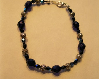 Cobalt Glass and Black Crystal Bracelet