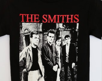 New † THE SMITHS† - Red Letters Band Picture- Black Unisex- Adult - T-Shirt Sizes S-2XL