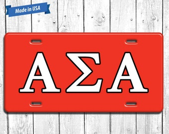 Alpha Sigma Alpha License Plate Monogram - Personalized Sorority Auto Tag LP044