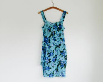 80s turquoise aqua blue floral tulip skirt novelty print sundress.// Fits a size xsmall or small