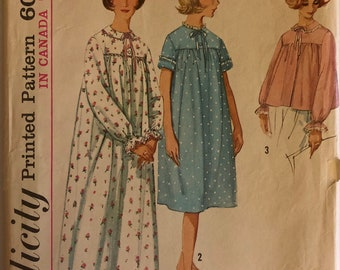 """VTG 5193 Simplicity (early 1960's).  Misses' nightgown and bed jacket.  Size 12, Bust 32"""".  Complete, unused, neatly cut/uncut. Ex cond."""