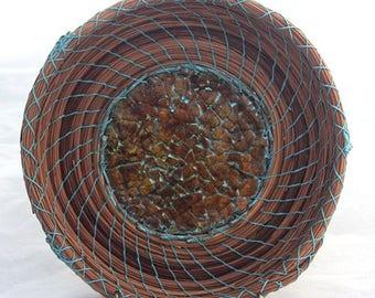 Pine Needle Basket - Eggshell mosaic Center- Item #812 by Susan Ashley