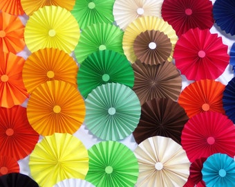 40pc rainbow colors   Paper Pinwheel Rosette Party Decoration Set wedding , birthday party ,backdrop background