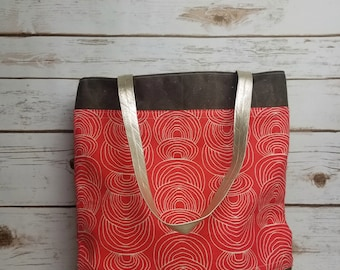 Coral and brown waxed canvas tote bag