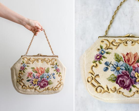 vintage 1950s white floral needlepoint handbag | 50s purse | floral tapestry bag | 1950s purse flowers