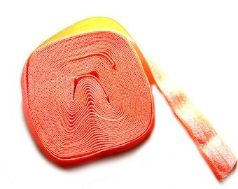 "5 Yard Roll of Neon Orange Foldover Elastic FOE 16mm 5/8"" wide"