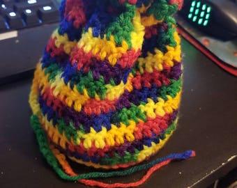 Rainbow Crochet Drawstring Bag.