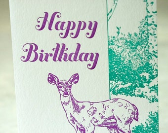 SALE Happy Birthday Letterpress card - Deer Birthday - 60% off
