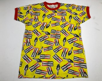Vintage 80s champion spark plugs all over print ringer tee t-shirt mens M deadstock mopeds motorcycles