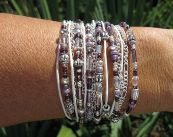 Wrap Bracelet, Lavender and Leather