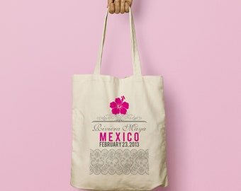 CAROLYN Custom Canvas Tote Bag and Destination Welcome Gift, Swag Bag, Beach Tote, Beach Bag, Wedding Favor, Bridesmaid Gift, Lace, Hibiscus