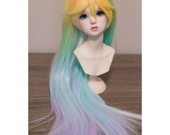 BJD handmade gradient/ ombre rainbow color long straight wig