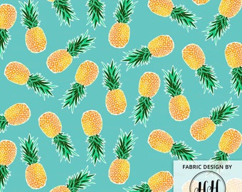 Tropical Pineapple Fabric by the Yard - Turquoise Blue Green / Hawaiian Fabric / Scattered Geometric Pineapple Print in Yard & Fat Quarter