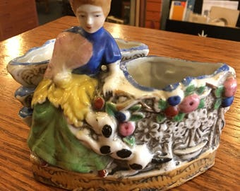 Unique Planter or Spooner Made in Japan colonial Lady with Dog