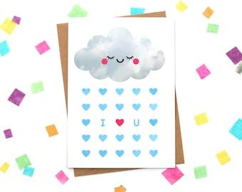 Cloud I Love You Card, Sleepy Rain Cloud, Anniversary Paper Goods