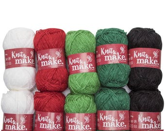 10 Pack Wool Yarn 100% Knitting Crochet Acrylic Christmas Gift Colours 50g
