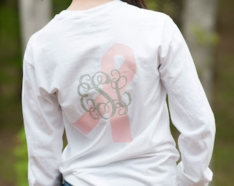 Breast Cancer Awareness Monogrammed Shirt, Breast Cancer T-shirt, Monogrammed Awareness Ribbon Long Sleeve Tee