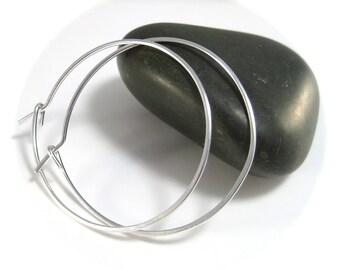 """Big Silver Hoop Earrings, 1.5"""" Hoops, Thin Silver Hoops, Big Hoop Earings, Big Sterling Silver Hoop Earrings"""
