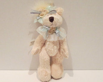 "7.5"" Shabby Chic Stuffed Teddy Bear Ornament"
