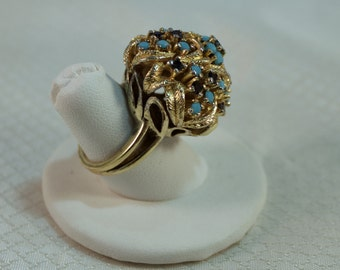 Sapphire and Turquoise Dome Ring, Gold Over Sterling Ring