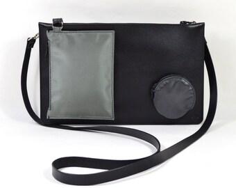 Node I - Handmade Modular Black Leather Shoulder Clutch Bag Purse