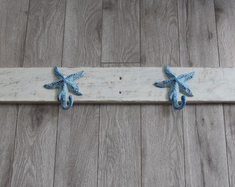 Starfish towel rack home decor towels bathroom decor nautical decor coat rack nantucket