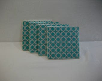 Coasters - Blue and White Moroccan 4 piece Ceramic Tile Drink Coaster Set - FREE USA SHIPPING