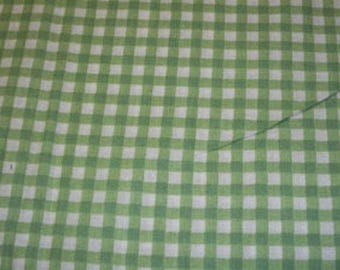 Cotton Fabric Green and White Check