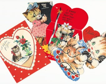 CHILDREN'S KITTEN VALENTINES, Group of four,  early 1950s
