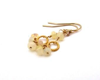 Gold opal earrings, October birthstone jewelry, opal birthstone earrings, opal cluster earrings, opal bohemian jewelry, opal dangle earrings