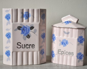 Vintage French Ceramic Canisters Sugar and Spice Art Deco