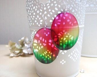 Transparent Earrings Epoxy Resin Earrings Ethnic Earrings Rainbow Earrings Red Green Yellow Stripes Earrings Colored Earrings Oval Earrings
