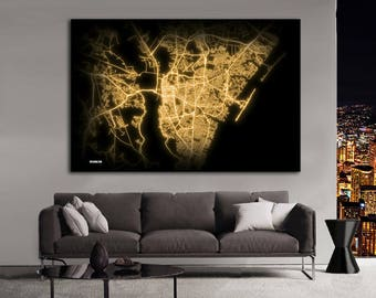 WILMINGTON North Carolina Night Lights Map Large Horizontal Wall Art Map Wilmington NC Modern Art Neon City Street Map of Wilmington NLM