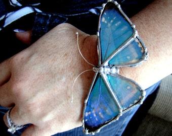 Real Butterfly Wing  Bracelet - Blue Morpho Butterfly