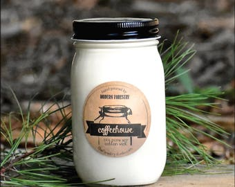 Coffeehouse Mason Jar Candle, natural soy candle, custom soy candle, coffee candle, coffee addict, mocha candle, starbucks candles, coffee