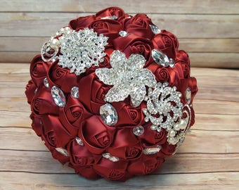 Wine Red Bridal Brooch Wedding Bouquet | Bridal Bouquet with Brooches