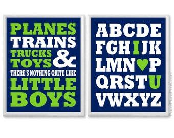 Boys Nursery Decor, Plain Trains Trucks and Toys, Alphabet Poster, Baby Boy Nursery, Wall Art for Nursery, Navy Lime Green, Transportation